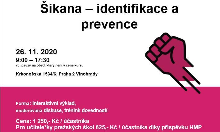 Otevřený kurz s přihláškou Šikana – identifikace a prevence