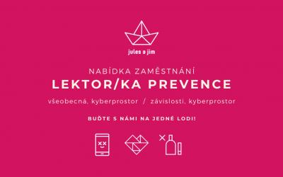 Lektor/ka prevence na školách (všeobecná a kyberprostor)